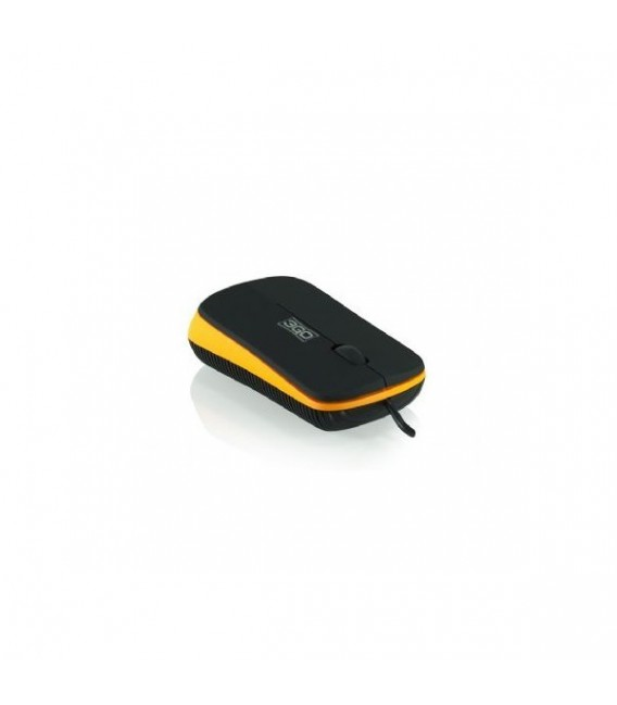 RATON 3GO FLAT USB NEGRO-NARANJA
